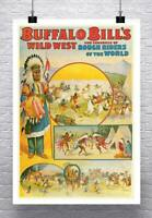 Buffalo Bill's Wild West Show Vintage Poster Giclee Print on Canvas or Paper