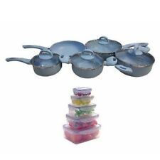 9-piece Non-stick Coating Ceramic Pan (Light Blue) with 10pc Food Storage