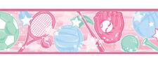 SPORTS STAR Pink Tennis Racket Soccer Baseball Gloves Girl Wall paper Border