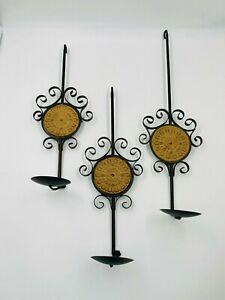 3 Pc. Decorative Black Wrought Iron Candle Wall Sconces w-Sand Colored Medallion