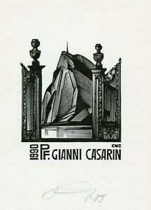 Anatoly Kalashnikov, Russia, Original Ex libris Bookplate Pf. Gianni Casarin,