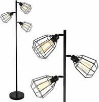 Industrial Style Floor Lamp w/ 3 Lights Black w/ Cages Great Decor Piece