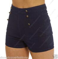 NEW HIGH WAIST SHORTS Ladies DENIM Stretch HIGH WAISTED HOTPANTS Size 8 10 12 14