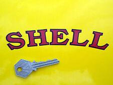 """Shell Estilo Antiguo Curvo cortar texto adhesivos para coches de 6 """"Par Rojo Y Negro Race Bomba De Gasolina"""