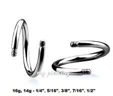 "1PC. 16g,14g~1/4"" - 1/2"" Steel Threaded Spiral Twister Post Ear Cartilage Labret"