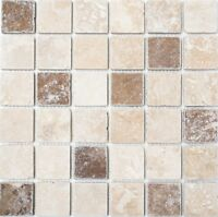 Mosaik Fliese Chiaro Noce Travertine Wand Boden Bad WC Art: 43-1216_b | 1 Matte