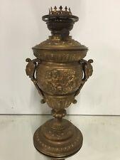 Lampe a Pétrole Métal Doré Bronze Ange Angelot Ancien Napoléon III Oil Lamp