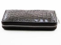 New Brown Genuine Alligator Crocodile Leather Skin Women Zipper Clutch Wallet.