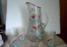 Victorian Dugan Enamel Flower Decorate Satin Glass Lemonade Pitcher w/3 tumblers