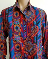 Vintage Southwestern Print Frontier Series Western Cowgirl Rancher Shirt Size M