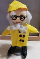 "Old Fisherman Sailor Yellow Rain Coat Hat Rag Doll Collectible 10"" w/ stand"