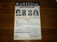 *1982 CHICAGO TYLENOL MURDERS* JAMES WILLIAM LEWIS FBI WANTED POSTER *PLS OFFER*