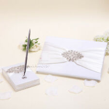 2Pcs Ivory Satin Crystal Wedding Guest Book and Pen Set GB61