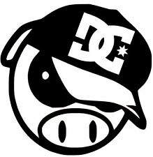 DC SHOES LOGO ON ANGRY PIG DECAL CAR TRUCK  CUSTOM VINYL STICKER 10 COLORS