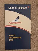 Piedmont Airlines Dash-8 100/200 Safety Card