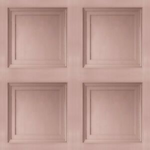 Blush Pink Wooden Panel 3D Effect Realistic Square Panelling Flat Wallpaper