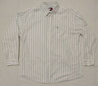 Tommy Hilfiger Shirt Mens Long Sleeve Button White and Blue Size XL