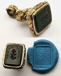 """VICTORIAN """"FORGET ME NOT"""" ROLLED GOLD MOTTO INTAGLIO GLASS SEAL 19TH CENTURY"""