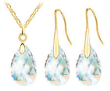 CRYSTAL NECKLACE AND EARRING SET CLEAR (GOLD) WEDDING BRIDESMAID PROM BIRTHDAY