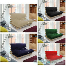 DOUBLE BED 2 SEATER FUTON WOOD FRAME + LUXURY MATTRESS IN CHOICE OF COLOURS