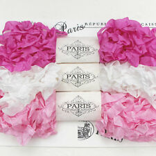 NEW Seam Binding Scrunched Rayon Ribbon-Doll making-Fuchsia-Pink-White-15 YARDS