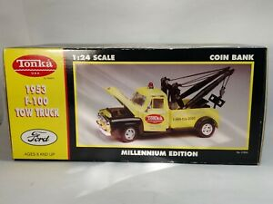 Gearbox Tonka Yellow 1953 Ford F-100 Tow Truck Millennium Edition Coin Bank NEW