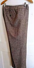 LIZ CLAIBORNE DRESS PANTS 14P SOLANE WOOL SILK BROWN TWEED LINED NWT $89  WC57