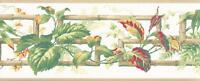 Wallpaper Border Green Red Yellow Leaf Vine on Bamboo Key Trellis Beige Trim