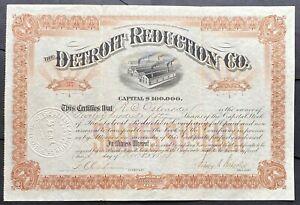 DETROIT REDUCTION CO. Stock 1899. Melvindale - Detroit, Michigan Rendering Plant
