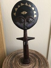 African art - Huge Ashanti African Fertility Statue Metal and Beads