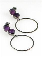 Black Rhodium Plated Dangle Hoop Earrings with Bezel Set Genuine Amethyst Post