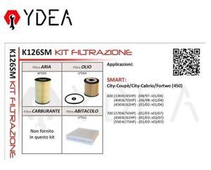 Filter Set Smart City Coupe City Cabrio Fortwo 450 600 97>04 - Ydea K126SM