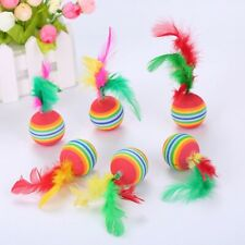 10Pcs Rainbow Color Feather Ball  00006000 Cat Toy Colorful Small Ball Pet Training Toy