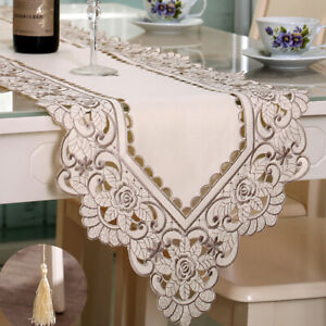 Embroidered Beige Lace Table Runner Floral  Tablecloth Table Cover Home Decor