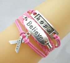 Hot pink Hope/Believe/Breast Cancer Awareness Charms Leather Braided Bracelet