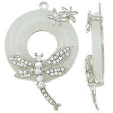 rhinestone and resin pendant-10199 1pc 67x44mm zinc alloy with