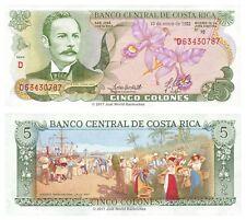 COSTA RICA 5 i cloni 1992 P-236e BANCONOTE UNC