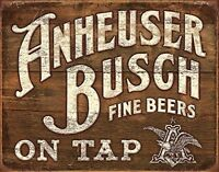 Anheuser Busch Fine Beers On Tap Vintage Retro Tin Metal Sign 13 x 16in