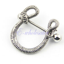 1pc Nipple Ring Shield Barbell Bar with Snake Piercing Gothic Body Jewelry HW