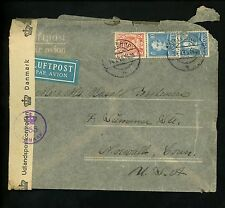 Postal History Denmark Sc #242+286(2) Airmail Censor 1945 Hellerup to Norwalk CT