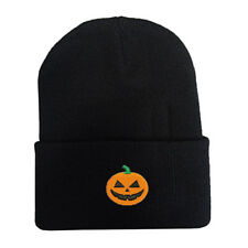Happy Halloween Pumpkin Face Logo Stitched Embroidered Beanie Cap Hat