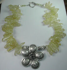 Statement Necklace with Crackle Yellow Quartz & Thai Silver Flower Handcrafted