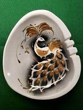 "Sascha Brastoff Ashtray California Art Pottery Jeweled Peacock Outstanding 10+"""