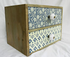 Style marocain miniature tour de poitrine de deux tiroirs/Boîte de rangement-Bnwt