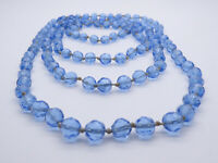 Vintage C1930s Hand Knotted Faceted Blue Glass Beads Necklace
