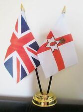 UNION JACK AND NORTHERN IRELAND TABLE FLAG SET 2 flags plus GOLDEN BASE