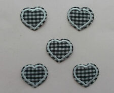 Black and White Checked Gingham Hearts Iron/Sew on Patches  x  5