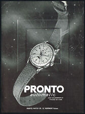 1950s Old Vintage 1951 Pronto Calendar Moon Phase Swiss Watch Art Print AD