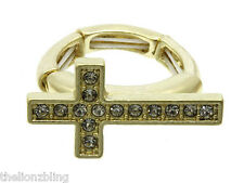Urban Hip Hop Gold Cross with Crystal Bling Stretch Ring