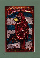 """""""CARDINAL""""by RUTH FREEMAN EMBOSSED COPPER FOIL 5"""" X 7"""" WITH MAT"""